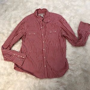 Ralph Lauren Polo Jeans Red White Pearl Snap Shirt